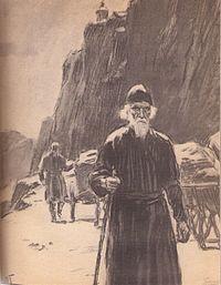 Путешествие за рукописями на Восток было последним подвигом старца Арсения (художник О.И.Гроссе, начало 1960-х гг.)
