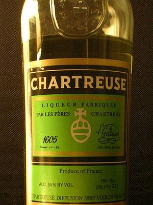 A bottle of yellow chartreuse liqueur