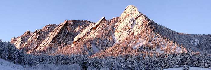 View of the first through fifth Flatirons (right to left, north to south) from Chautauqua Park on a winter morning