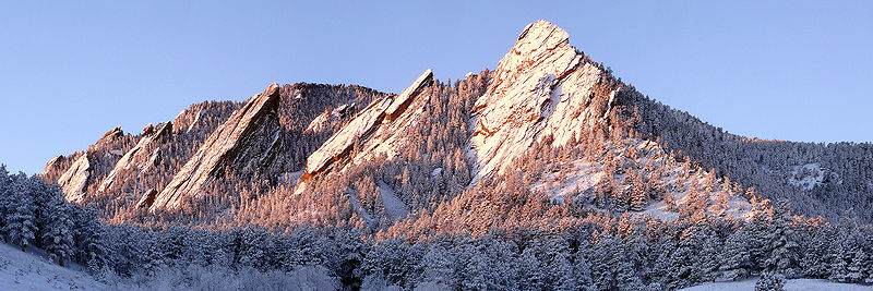 Flatirons rock formations, on Green Mountain, near Boulder, Colorado - Wikimedia photo by Jesse Varner