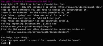 English: Screenshot of GDB, the debugger of th...