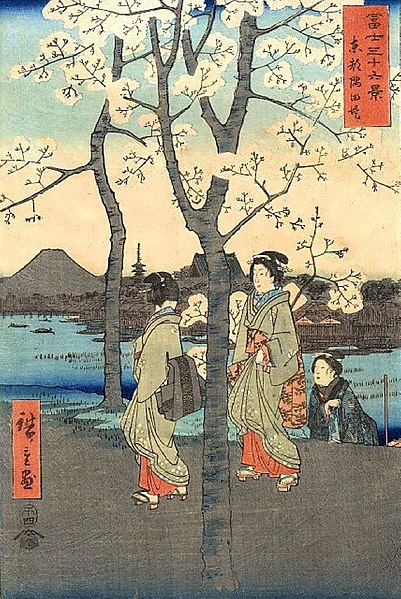 """""""The Sumida Embankment in the Eastern Capital"""" from Hiroshige's Thirty-six Views of Mount Fuji c. 1858"""