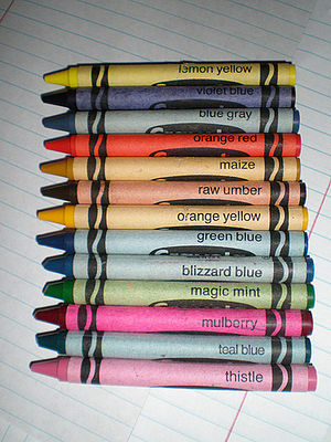 English: The thirteen retired Crayola crayon c...