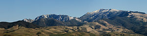 A panoramic of a snow topped Mt Diablo as take...
