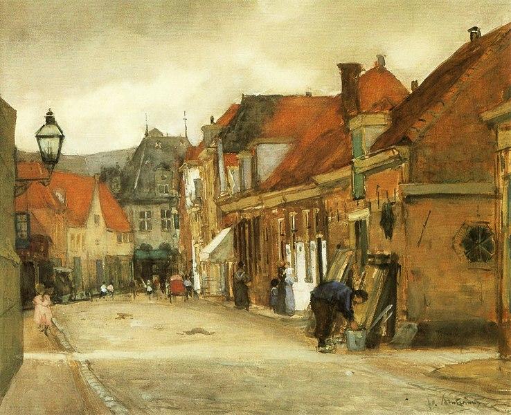 Archivo: Floris Arntzenius - Straatje en Hoorn, se reunió op Zicht de Kaaswaag.jpg