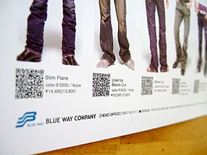 A Japanese advertising poster containing QR codes