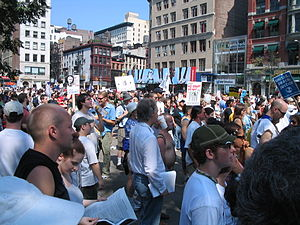 Protesters gathered in Union Square on August ...