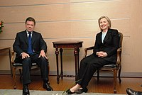 Santos and U.S. Secretary of State Hillary Clinton, 9 June 2010.