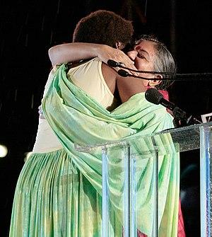 Esther Mujawayo and Vandana Shiva during the S...