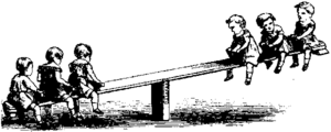 Seesaw with a crowd of children playing