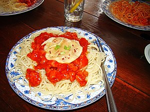 English: Polish spaghetti pasta with sauce