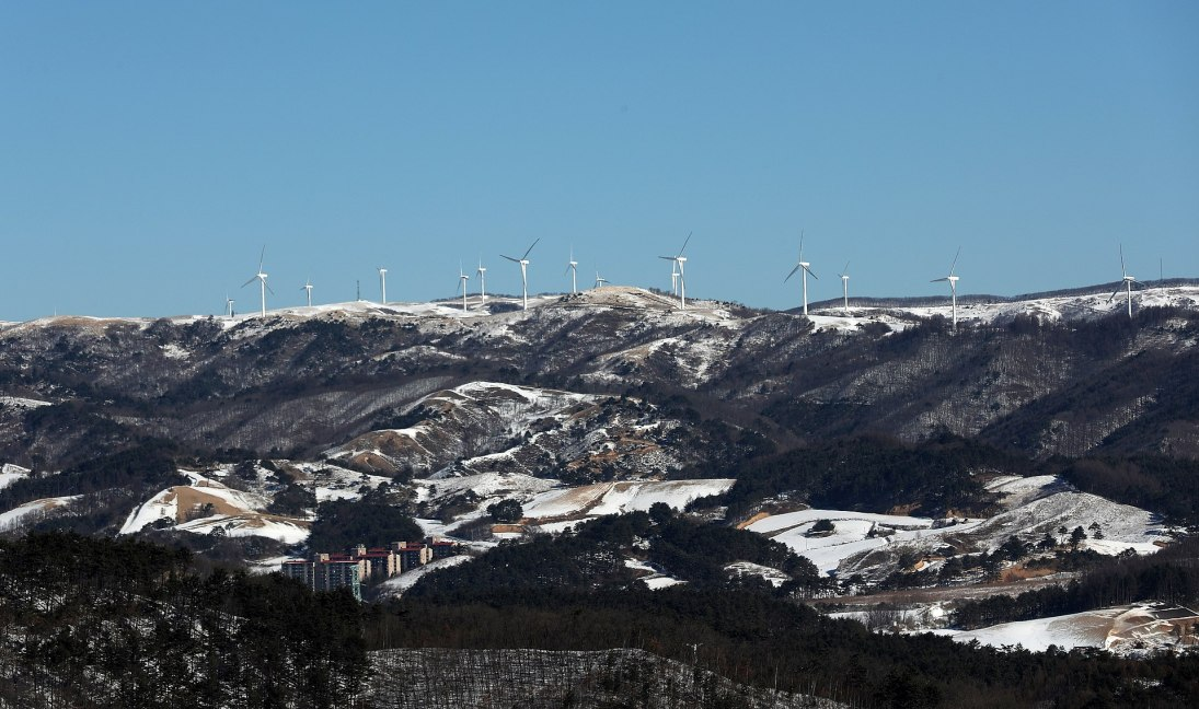 Alpensia Resort and a wind farm in Pyeongchang