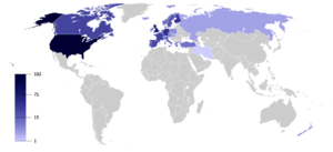 English: Map of countries by the number of pol...