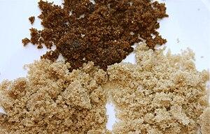 Brown sugar examples: Muscovado (top), dark br...