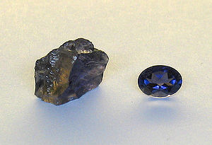 A rough specimen of cordierite, showing dichro...