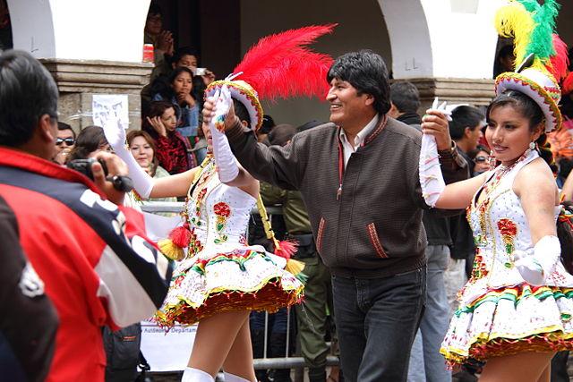 Evo Morales bei einer festlichen Veranstaltung in LaPaz
