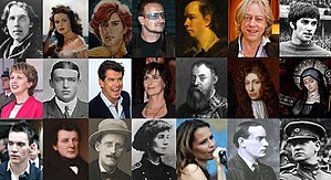 Collage of well-known Irish people
