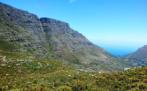 Platteklip Gorge on Table Mountain viewed from Devils Peak