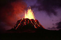 According to Revolt In The Stars, Xenu dumped his surplus population in the vicinities of volcanoes, like this one on one of the islands of Hawai'i, and slaughtered them by blowing them up with hydrogen bombs.
