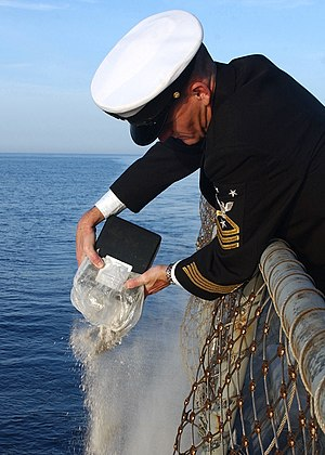 Cremated remains at sea on the USS Donald Cook...