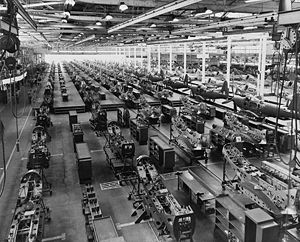 The assembly plant of the Bell Aircraft Corpor...