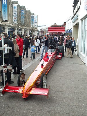 A drag racer in the town centre of Bedford, Be...