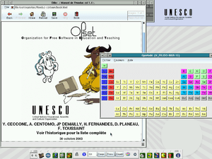 English: The desktop of Freeduc-CD 1.4, with F...
