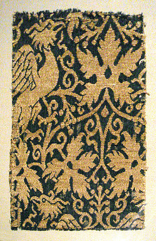 Lampas with phoenix silk and gold