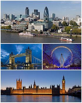 บน: ภาพถ่ายทางอากาศของลอนดอน, กลาง: สะพานทาวเวอร์บริดจ์, ลอนดอนอายส์ ล่าง: พระราชวังเวสต์มินสเตอร์.