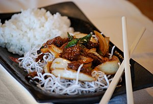 Mongolian Beef with rice and noodles