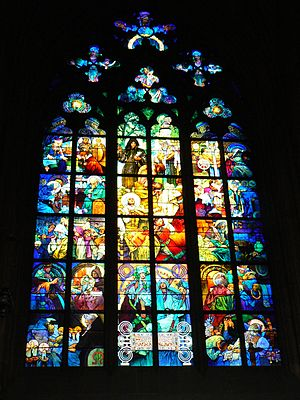 English: Alfons Mucha's stained glass window i...