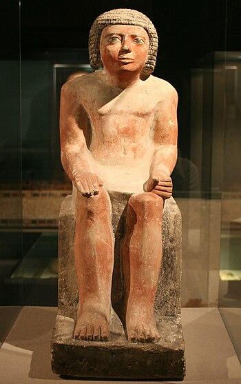 English: Statue of Memi; Giza, 5th dynasty Deu...