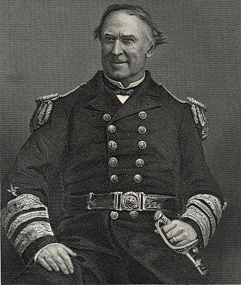 English: Print of an engraving of Admiral Davi...