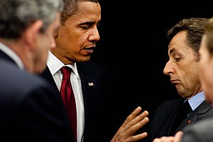 President Barack Obama talks with French Presi...