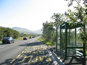 Bus Stop and Shelter on the A499 at Y Swan. Th...