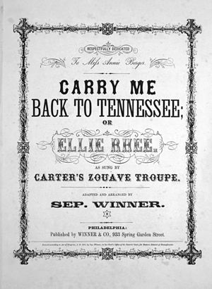 "English: Sheet music to ""Carry me back to..."