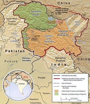 The Kashmir region (Kashmir valley is left of ...