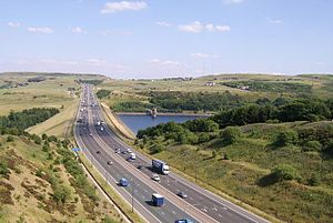 The M62 passes Scammonden Reservoir in West Yo...
