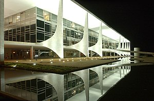 Reflecting pool of the Planalto Palace in Bras...