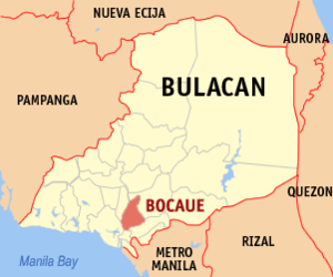English: Map of Bulacan showing the location o...