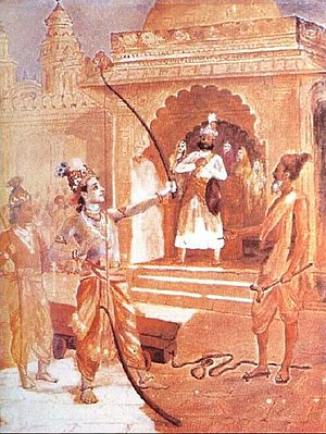 Sri Rama breaking the bow to win Seetha as wife.
