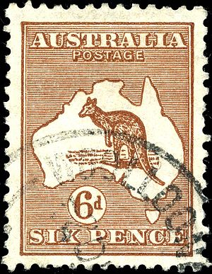 "6d ""kangaroo & map"", used at Woolloo..."