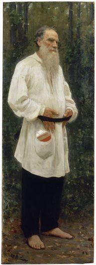 English: Lev Nikolayevich Tolstoy shoeless. Oi...