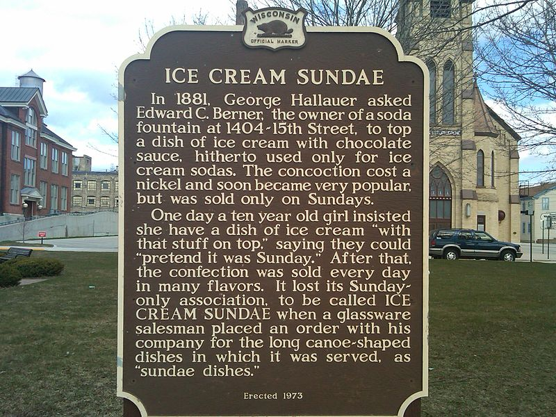 File:Wisconsin Historical Marker ice cream sundae.jpg