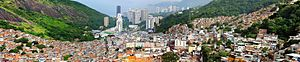 Panoramic view of the Favela da Rocinha in Rio...