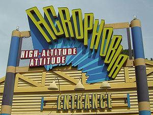 Acrophobia logo, roto-drop at Six Flags Over G...