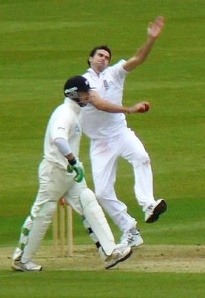 Jimmy Anderson bowls against New Zealand durin...