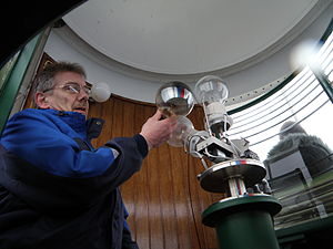 The lighthouse keeper Hans Petur Kjærbo is cha...
