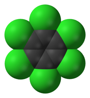Space-filling model of the hexachlorobenzene m...