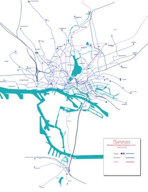 English: Tramway network Hamburg, Germany, 193...